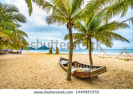 Recreational Beach with Tropical White Sands and Coconut Palm Trees in the Lost Islet Daidai Island Attraction Nanwan Monkey Island Lingshui Hainan Province China.