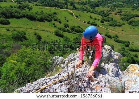 Recreational climb on limestone rock