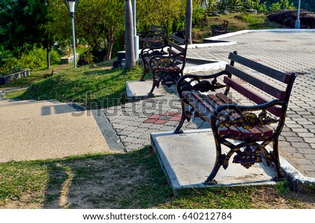 Recreational park bench in a morning