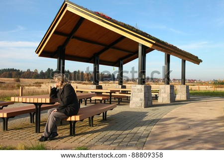 Recreational, picnic rest area in a park.