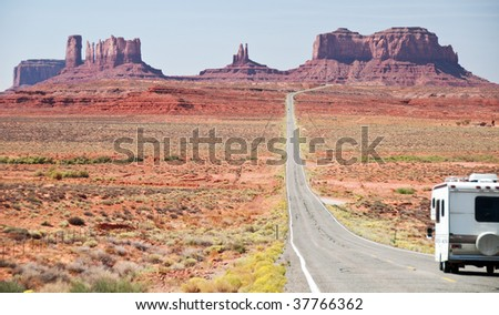 Recreational vehicle entering monument valley, utah