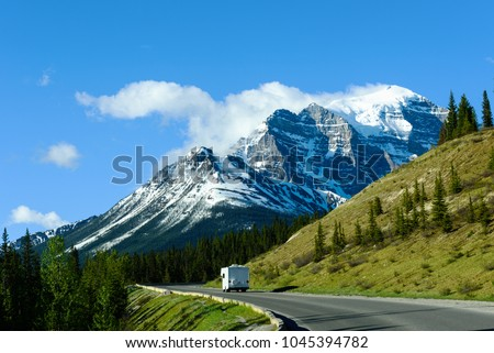 Recreational Vehicle Motorhome on Road Trip to Moraine Lake, Banff National Park, Canada