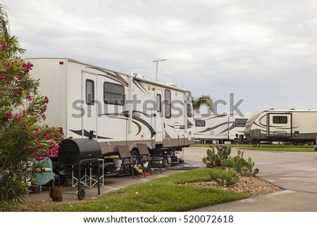 Recreational vehicles at a campsite rv park in southern united states  #520072618