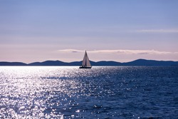 Recreational Yacht at Adriatic Sea. Filtered sunset shot