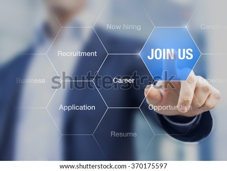 Recruiter pointing Join Us sign on screen to advertise about hiring opportunities