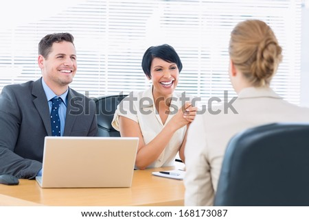 Recruiters checking the candidate during a job interview at office