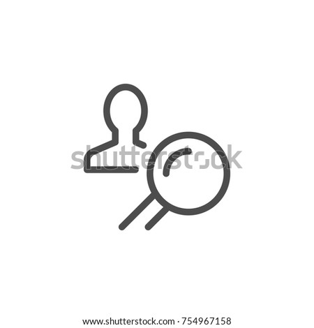Recruiting line icon isolated on white