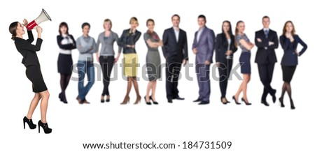Recruitment agency. Business woman with megaphone standing in front of other busines people