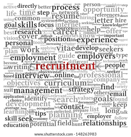 Recruitment concept in word tag cloud on white background