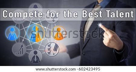 Recruitment consultant urging to Compete for the Best Talent. Human resources management metaphor and business strategy concept for attracting the most qualified candidates in a competitive market.