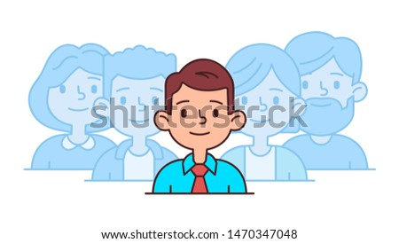 Recruitment human employment concept in flat linear style. Professional research employee illustration. The man is selected from the group