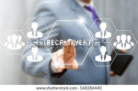 Recruitment Human Resources Interview Job Business Concept. Businessman pressing button on the touch virtual screen and selecting recruitment. Work recruiting WE ARE HIRING