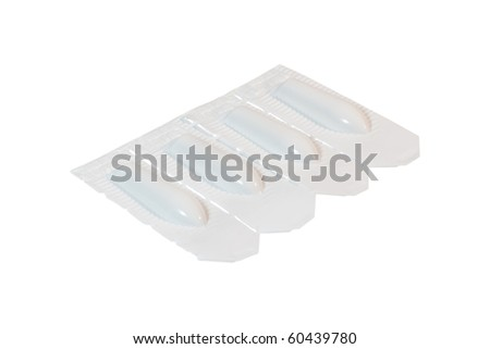 Rectal suppository in white pack. Isolated on white background with clipping path.