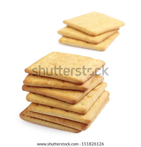 Rectangle cheese crackers on white background