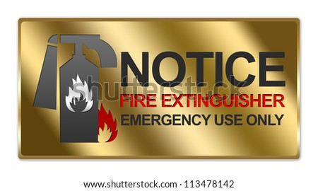 Rectangle Gold Metallic Style Plate For Notice Fire Extinguisher Emergency Use Only Sign Isolated on White Background - stock photo