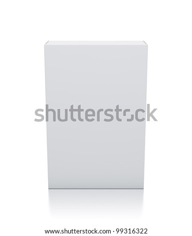 Rectangle white box. High resolution 3D illustration with clipping paths.