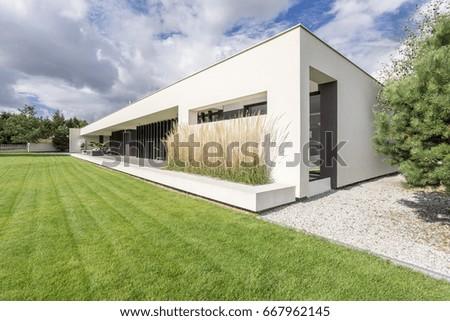 Rectangualr block of minimalistic, modern and geometric villa #667962145
