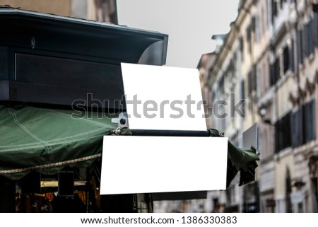 Rectangular blank signboards on the street in the city - Image #1386330383