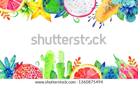 Rectangular frame with exotic fruits and succulents on top and bottom. Pomegranate, pitahaya, citrus, papaya, carambola. Hand drawn watercolor illustration on white background #1360875494