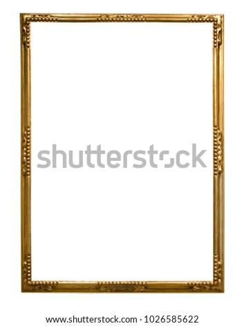 rectangular golden frame for photo on isolated background