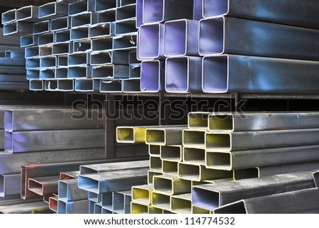 Rectangular metal pipe for construction