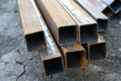 Rectangular metal pipes . Steel materials, construction supplies.