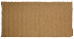 rectangular piece of corrugated brown cardboard isolated on white