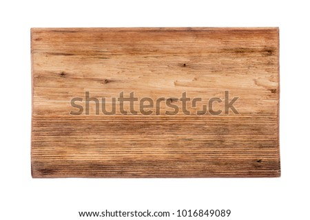 Rectangular piece of wood with a natural texture, pattern. Isolated on white background