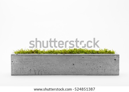 Rectangular pots of concrete with a white background #524851387