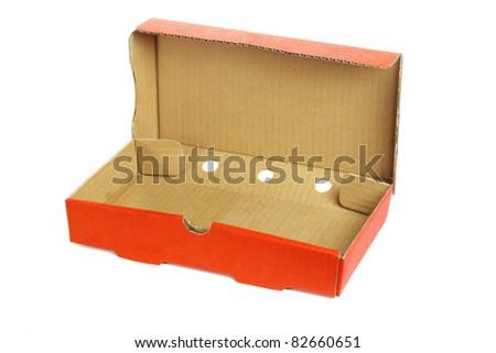 Rectangular shape takeaway pizza box on white background