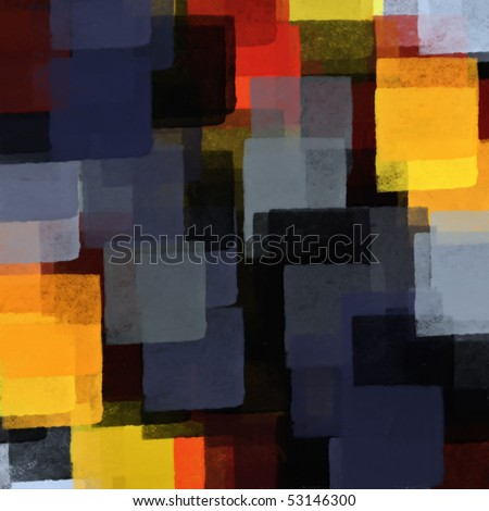 Rectangular shapes and colors digital illustration. Abstract paint background.