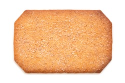 Rectangular sugar coated cinnamon biscuit isolated on white. Top view..