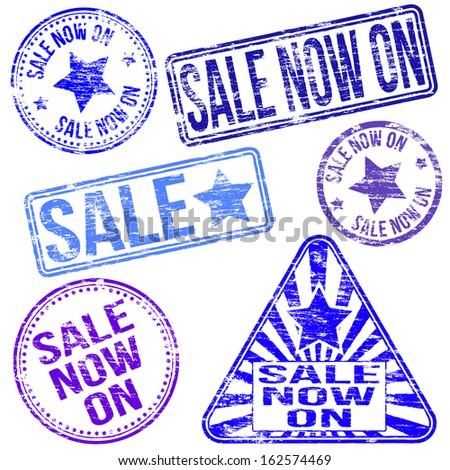 Rectangular, triangular and round sale rubber stamps