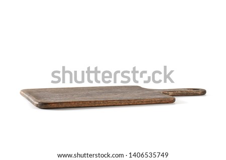 Rectangular wooden board with handle on white background - Front angled view Foto stock ©