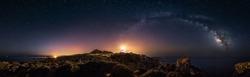 rectilinear 360 degrees panoramic view of starry night with milky way arc and lighthouse of Capo Spartivento -  very high resolution