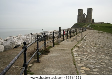 reculver towers roman saxon shore fort and remains of 12th century church undercut by coastal erosion