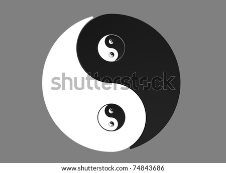 Recursive 2D Yin Yang asian symbol isolated on grey background