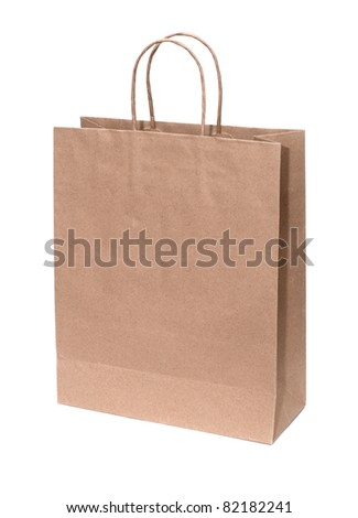 Recyclable paper bag isolated on white background.