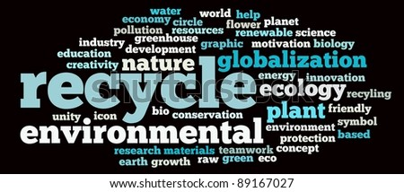 Recycle and environmental illustration concept info-text graphics and arrangement word clouds concept