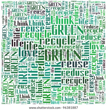 Recycle and Green info-text graphic and arrangement concept