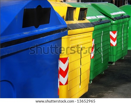 Recycle Bin containers to separate materials (Majorca - Balearic Islands - Spain)
