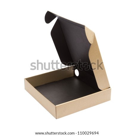 Recycle Cardboard box package front view with isolated on white background