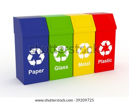 Recycle Concept. Paper, Plastic, glass and metal