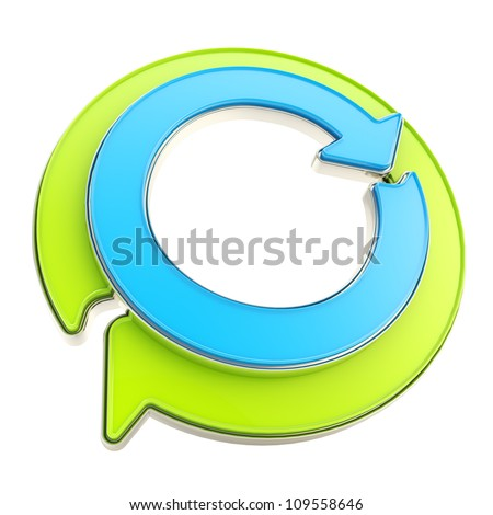 Recycle glossy icon emblem as two green and blue circle round arrows isolated on white