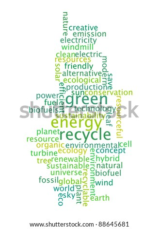 recycle green energy info-text graphics and arrangement concept on white background (word cloud)