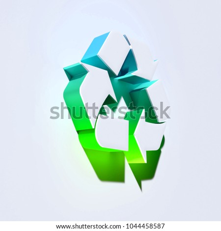 Stock Photo Recycle Icon on the Aqua Wall. 3D Illustration of White Arrows, Circle, Recycle, Refresh Icons With Aqua and Green Shadows.