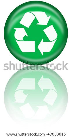 Recycle logo button with reflection