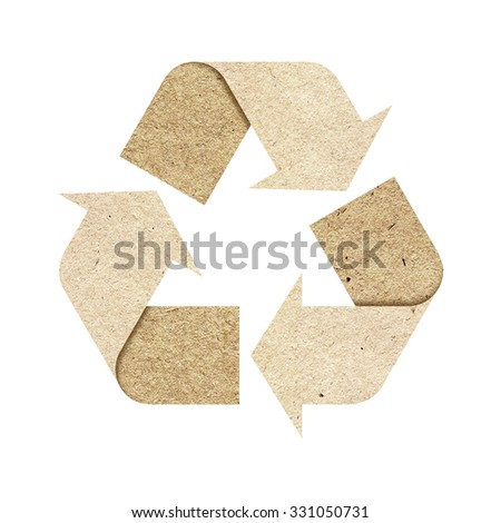 Recycle logo isolated made of recycled paper with Clipping Path included.