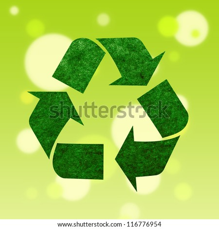recycle logo on bokeh background