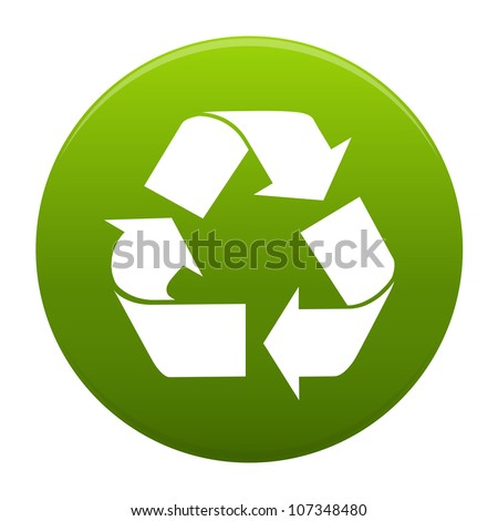 Recycle logo symbol inside a green circle isolated on white background. Stylized icon